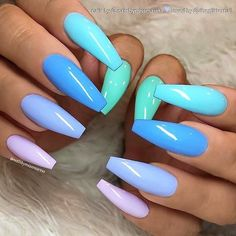 82 Trendy Acrylic Coffin Nails Design For Long Nails For Summer - Latest Fashion. - 82 Trendy Acrylic Coffin Nails Design For Long Nails For Summer – Latest Fashion Trends For Woman – Nails Design # Blue Acrylic Nails, Summer Acrylic Nails, Pastel Nails, Bright Blue Nails, Coffin Nails Designs Summer, Summer Nail Polish, Acrylic Nails For Holiday, Acrylic Nails For Summer Bright, Nail Art Blue