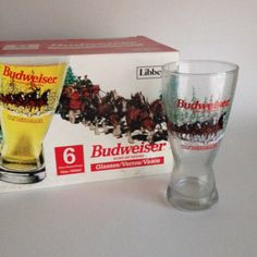 1989 Budweiser Clydesdales Set of 6 Libbey Brand by ThatRetroChick