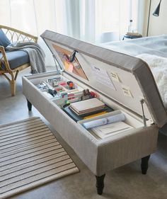 14 fresh ideas to plan and organize your craft room - IKEA Hackers Room Design Bedroom, Room Ideas Bedroom, Home Room Design, Ikea Room Ideas, Grey Bedroom Decor, Bedroom Stuff, Storage Ideas For Bedroom, Seating In Bedroom, Bench For Bedroom