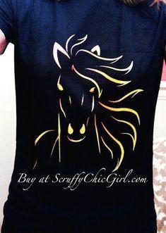 38176a9c Golden Horse Head Horse Lovers Tee Shirt Scruffy Chic Girl #havetohaveit  Golden