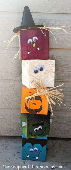 Halloween Craft Blocks - The Keeper of the Cheerios Halloween Wood Blocks<br> Halloween Craft Blocks Halloween Wood Crafts, Fete Halloween, Diy Halloween Decorations, Holidays Halloween, Fall Crafts, Holiday Crafts, Holiday Fun, Halloween Blocks, Thanksgiving Wood Crafts