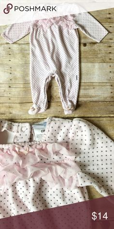 Pink and Polka dots one piece bodysuit Super soft and warm pink footed bodysuit! Featuring polka dots and a ruffle! One Pieces