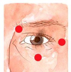 """Continue a sequência repetindo a frase-lembrete em voz alta (""""esta sensação de..."""") ao mesmo tempo que toca os seguintes pontos com a ponta dos dedos: No osso do começo da sobrancelha, no osso sob o final dela e no meio do osso abaixo do olho."""