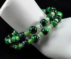 Green  Light Green  Marbled  Round  Beaded  Bangle  by bebsbeads, $10.00