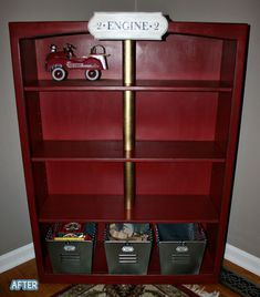 Not this shelf - use the other industrial shelf - but paint shelves red like this, and maybe one pipe gold to be the pole!