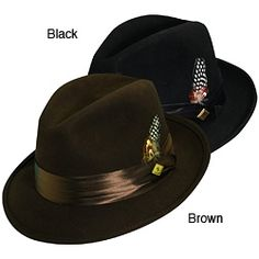 @Overstock.com.com - Stacy Adams Men's Crushed Wool Felt Fedora - Show off your style with these classic men's fedora hats by Stacy Adams. Each hat features a tonal satin ribbon band that circles the entire crown and a feather accent. They are made of high-quality wool felt and come in black and brown. http://www.overstock.com/Clothing-Shoes/Stacy-Adams-Mens-Crushed-Wool-Felt-Fedora/6287620/product.html?CID=214117 $32.15