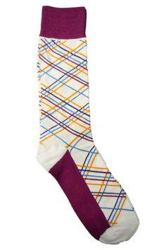 Steven Land White, Fuchsia, Gold, Blue, and Navy Diagonal Striped Socks