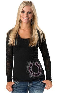 Cowgirl Hardware Women's Black Burnout with Rhinestone Studded Horseshoe Long Sleeve Tee