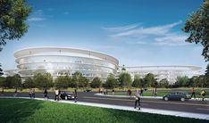 """Apple just sealed the deal on a second """"spaceship"""" campus in Silicon Valley. Much like the tech giant's extravagant UFO-like Campus 2 still under construction, the 18-acre Central & Wolfe campus in Sunnyvale is a curvaceous volume clad in seamless glazing - and it's designed to meet LEED standards. The Silicon Valley Business Journal reported Apple just closed the deal with developer Landbank Investments to lease, not purchase, the project. Click through for a preview of the stunning new..."""