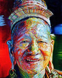 Bario Baseball 80 x 64 inches , Acrylic on Canvas, Sarawak 2006 ~ Stephen Bennetts World Portraits