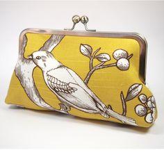Citrine Blossom Bird - Linen Clutch Purse | Eleven Roosters | madeit.com.au
