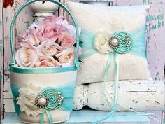 Ring bearer pillow / Tiffany Ring bearer pillow / Flower girl basket / YOU DESIGN / Tiffany Blue Flower girl basket Ring bearer pillow set on Etsy, $59.99