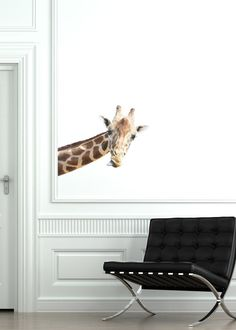 Giraffe Wall Sticker--Reusable, Removable, Full Color, Art, Decal, Children. $28.00, via Etsy.