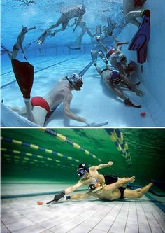 A little known sport, underwater hockey is what some divers like to do during the winter months when the outside water is too cold for diving. The sport was invented in Great Britain during the when some British divers were looking for ways to stay Adrenaline Sports, Swimmer Problems, All About Water, Different Sports, Keep Swimming, Water Polo, Swim Team, Water Activities, Water Sports