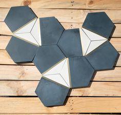 Hexagon Tile Bathroom Floor, Hexagon Backsplash, Hexagon Tiles, Large Hexagon Floor Tile, Entry Tile, Unique Tile, Blue Floor, Concrete Tiles, Blue Tiles