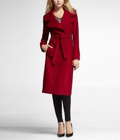 METAL TRIMMED WOOL BLEND TRENCH COAT at Express... Need!!