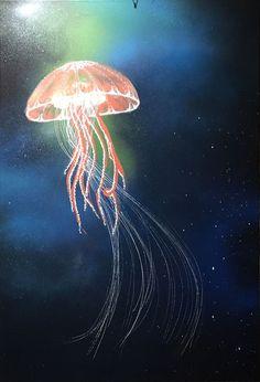 jellyfish acrylic paint canvas sealife ©ccaratini