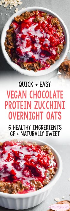 These vegan chocolate protein zucchini overnight oats have been my breakfast every day for the past few months, they are THAT good. Simple to prepare and full of healthy, satisfying ingredients. Clean Dinner Recipes, Clean Eating Dinner, Vegan Breakfast Recipes, Vegan Recipes, Free Recipes, Oats Recipes, Vegetarian Breakfast, Vegetarian Food, Vegan Desserts