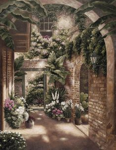 """36/""""x24/"""" FRENCH QUARTER COURTYARD II by BETSY BROWN BUILDING VINES TREES CANVAS"""