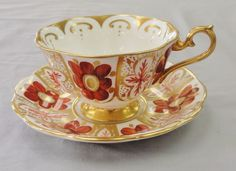 Vintage Royal Albert Tea Cup Saucer Bone China England Gold Orange Floral (3038) #RoyalAlbert