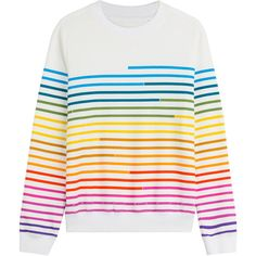 Mary Katrantzou Striped Cotton Pullover ($835) ❤ liked on Polyvore featuring tops, sweaters, pullover, stripes, round neck sweater, rainbow sweater, colorful striped sweater, multi colored striped sweater and striped sweater