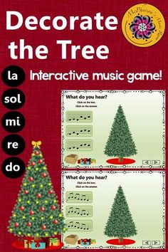 Rhythm Game (eighth notes)! Your elementary music students will love this interactive music game and watching the tree decorate before their eyes. Engaging activity to add to lesson. Excellent resource for Orff and Kodaly classrooms! Rhythm Games, Music Games, Music Mix, Music Education Activities, Elementary Music Lessons, Piano Lessons, Music Lesson Plans, Christmas Music, Christmas Tree