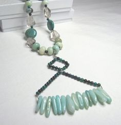 OOAK Long Amazonite Natural Gemstone by MissBusyBeeJewelry on Etsy, $69.00