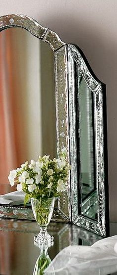 pretty venetian mirror and fresh flowers for your vanity