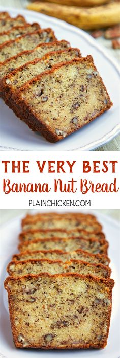 The Very Best Banana Nut Bread - CRAZY good! butter sugar eggs flour baking soda buttermilk ripe bananas and pecans - SO easy to make. Great for breakfast or an afternoon snack. Köstliche Desserts, Delicious Desserts, Dessert Recipes, Yummy Food, Snack Recipes, Snacks, Bread Cake, Dessert Bread, Best Banana Bread