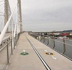 Cycle and pedestrian lanes on the Tilikum bridge, Portland OR. Photo: Angle Schmitt. Click image for link to full story via Bicycle Dutch and visit the slowottawa.ca boards >> http://www.pinterest.com/slowottawa/