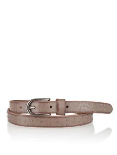 - aus hochwertigem Rindsleder - mit Dornschnalle zu schließen - mit dezenten Nieten besetzt - schmaler Ledergürtel - modisches Design