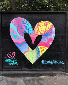 Spreading the LOVE even further by collaborating with my homie who is also from my hometown! And thanks to for giving me this little wall! 💜💖💛💙🖤 Painted with love and ⚡️ Art by Jason Naylor Love Graffiti, Graffiti Wall Art, Graffiti Designs, Murals Street Art, Street Art Graffiti, Mural Painting, Mural Art, Street Art Photography, Color Pencil Art