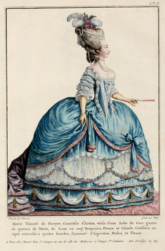 EKDuncan - My Fanciful Muse: French Fashion Plate in the Style of Marie Antoinette High hair with headdress to make it larger, panniers and corset under dress. Rococo Fashion, French Fashion, Victorian Fashion, Vintage Fashion, Style Fashion, Mode Rococo, Rococo Style, French Rococo, Moda Vintage