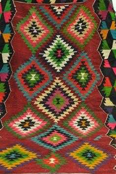 Turkish Handwoven Kilim Traditional Wool Kilim Rug by TurkishCraftsArts, $450.00
