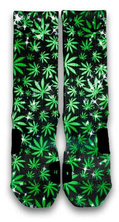 The Chronic Nike Custom Elite Socks. This cannabis print will surely bring your schwagg to another level. Featuring a full set of different sized weed in random vector and glistening stars to match. For medical use only.