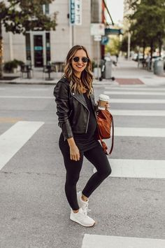 Fashion Ideas Hijab Three Ways To Style A Leather Jacket - Inspired by This Casual Maternity Outfits, Maternity Jacket, Stylish Maternity, Mom Outfits, Maternity Wear, Fall Outfits, Winter Maternity Clothes, Maternity Looks, Cute Maternity Style