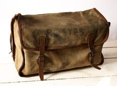 ORIGINAL old french real leather and CANVAS by RueDesLouves, $180.00