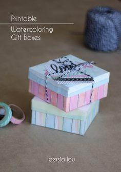 Printable Watercoloring Gift Boxes