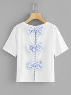 Shop Contrast Bow Split Back Tee online. SheIn offers Contrast Bow Split Back Tee & more to fit your fashionable needs. Sexy Dresses, Dress Outfits, Cute Outfits, Fashion Outfits, Summer Dresses, Ladies Dresses, Dress Clothes, Party Dresses, Dress Fashion