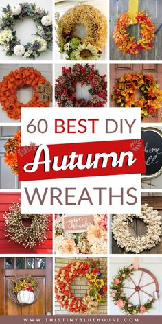 Best DIY Fall Decor Ideas – This Tiny Blue House Get your front door fall ready with one of these best DIY autumn wreaths. Easy and budget friendly these gorgeous wreaths are the best DIY Fall decor. Easy Fall Wreaths, Diy Fall Wreath, Wreath Crafts, How To Make Wreaths, Holiday Wreaths, Autumn Wreaths For Front Door, Yarn Wreaths, Winter Wreaths, Floral Wreaths