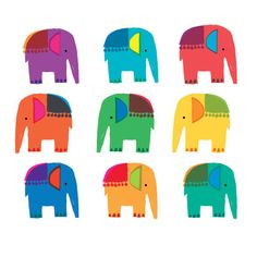 Whimsical Colorful Elephants By Louise Cunningham