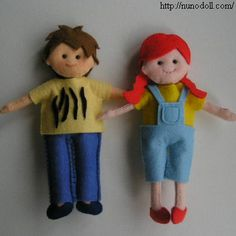 Boy and girl - felt dolls for mom's doll house - plus MANY more little dolls and clothes