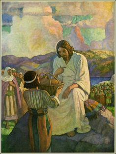 Age grows calculating, but youth is spendthrift in its generosity. Even if the boy trudged home hungry, he intended that Jesus should be fed. He gave his evening meal to the Master – Works – N. Bible Pictures, Jesus Pictures, Corpus Christi, Nc Wyeth, Jesus Art, Biblical Art, Peter Paul Rubens, Sacred Art, Bible Art