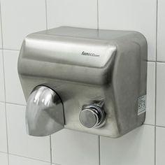 #Suszarka do rąk - obudowa: #stal #nierdzewna - uruchamianie: przycisk - zastosowanie: #toaleta #publiczna // #handdryer #publictoilet