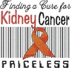 Kidney Cancer Embroidery Design