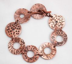 How to Make a Washer Bracelet: Free Jewelry Tutorial! How to Make a Washer Bracelet: Free Jewelry Tutorial! Don't know if I'd ever make this because I would need to buy the tools, but I do like it. Copper Jewelry, Wire Jewelry, Jewelry Crafts, Beaded Jewelry, Jewelery, Jewelry Ideas, Jewelry Logo, Jewelry Quotes, Dainty Jewelry