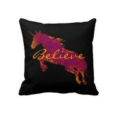Artistic Painted Unicorn With Believe Text Throw Pillows