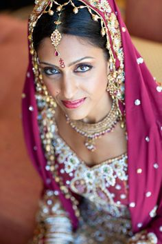 pink indian bridal makeup