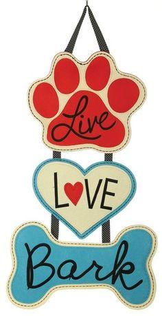 Live Love Bark Decorative Felt Door Hanger