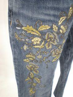 Just Cavalli Gold Floral w Leather Cinch Bootcut Jeans Dark Wash Sz 30 | eBay